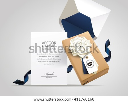 Gift Box with flower folded neck tie, hang tag, envelope and message card. - stock vector