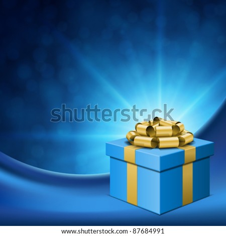 Gift box with gold bow and light. Vector background eps 10. - stock vector