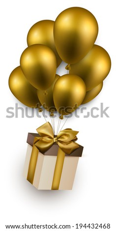 Gift box with golden bow flying on balloons. Celebration background. Vector illustration.  - stock vector