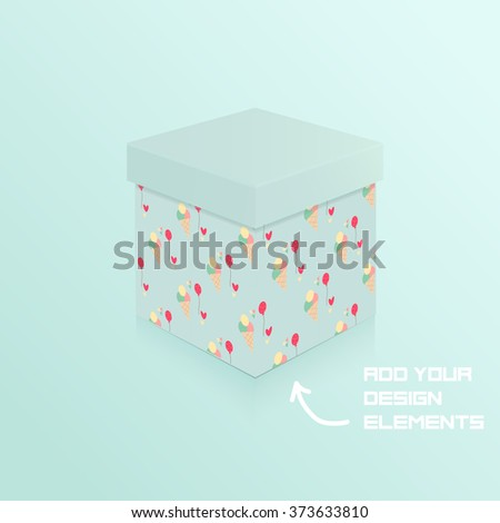 Gift box with ice cream pattern. Mockup box. Vector illustrationn, eps 10 - stock vector