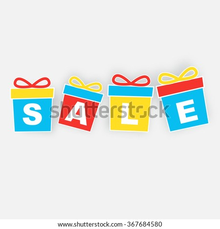 Gift box with letters SALE - stock vector