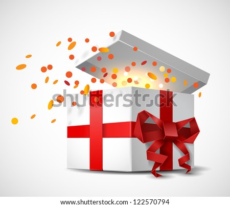 Gift box with origami bow and confetti - vector illustration. - stock vector
