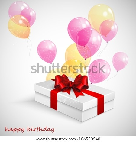 gift box with red bow and flying  transparent balloons - stock vector
