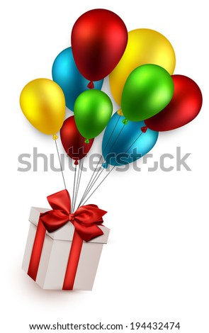 Gift box with red bow  flying on colorful balloons. Celebration background. Vector illustration.  - stock vector