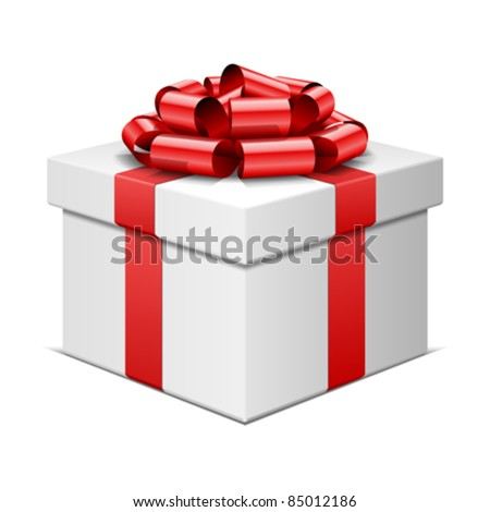 Gift box with red bow isolated on white. Vector illustration eps 10. - stock vector
