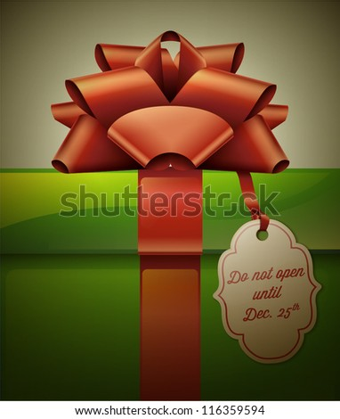 Gift box with red ribbon bow and label. Vector Illustration. - stock vector