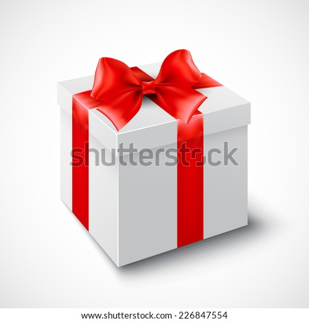 Gift box with red ribbon. Vector illustration