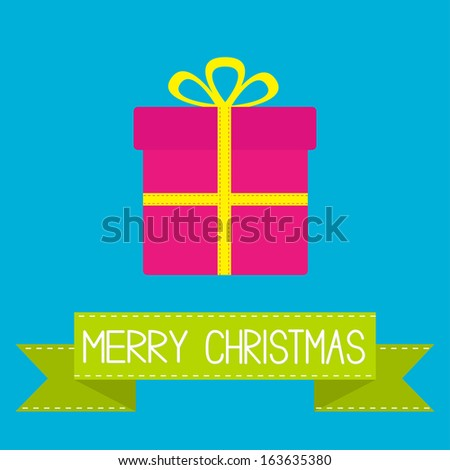 Gift box with ribbon and bow. Merry Christmas card. Vector illustration. - stock vector