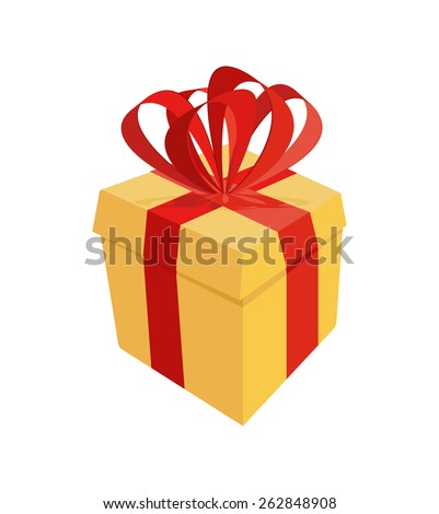 Gift box with  ribbon bow and blank tag isolated on white background. Vector illustration - stock vector