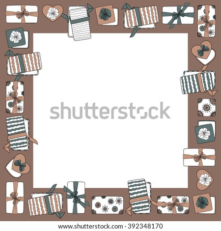 Gift box with ribbon decoration design vector gift card cover frame - stock vector