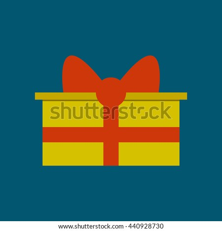 Gift box with ribbon vector icon. - stock vector