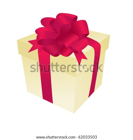 Gift box with satin bow and ribbon - stock vector