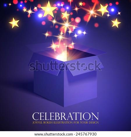 Gift box with shining light & stars. Vector illustration - stock vector