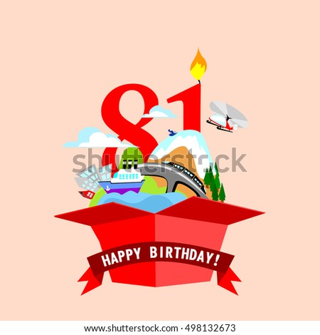 "gift box with words ""Happy Birthday"". the number of red color on the background. vector illustrations"