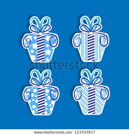 Gift box wrapped with decorative sweet color vector illustration.