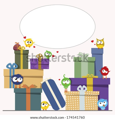 gift boxes and cute birds - stock vector
