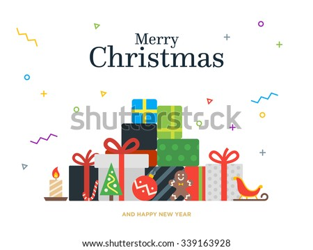 Gift boxes bunch and christmas balls, candy, candle, Gingerbread man. Isolated on white. - stock vector