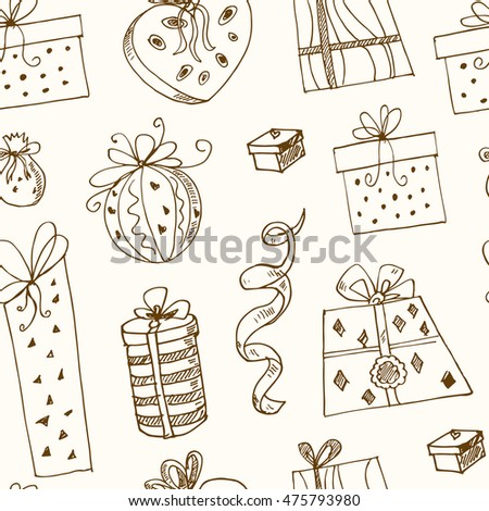 Gift boxes doodle seamless pattern.. Vintage illustration for identity, design, decoration, packages product and interior decorating