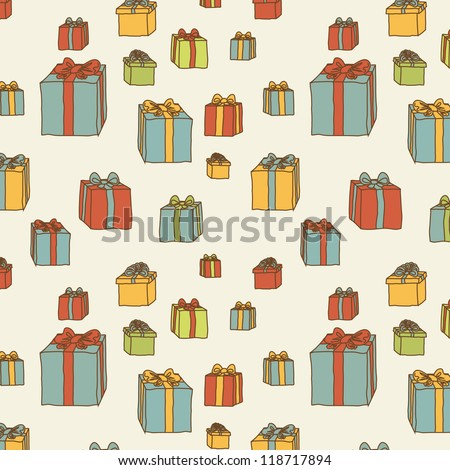 Gift boxes doodles hand drawn vector seamless pattern on beige background - stock vector