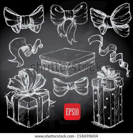 Gift boxes doodles on chalkboard - stock vector