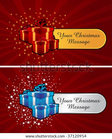 gift boxes for any gift occasion with room for your own text on tag - stock vector