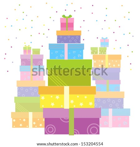 Gift boxes for holiday.Vector presents isolated on white - stock vector