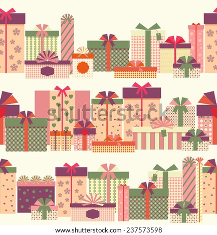 Gift boxes seamless horizontal border pattern. Wrapped presents or gift boxes. Vector illustration - stock vector