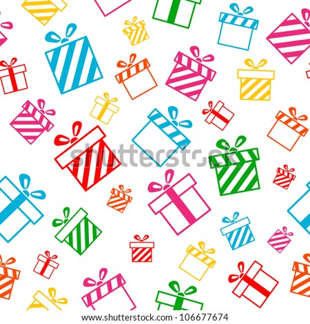 Gift boxes seamless vector pattern EPS8 - stock vector