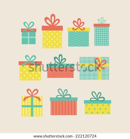 gift boxes set. vector illustration
