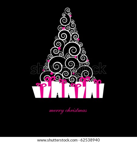 Gift boxes under christmas tree. Christmas boxes, christmas presents, christmas tree. Holiday christmas card in dark colors. White christmas present boxes under abstract silver christmas tree. - stock vector