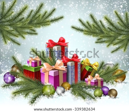 Gift boxes under pine tree, background for christmas cards, EPS 10 contains transparency - stock vector