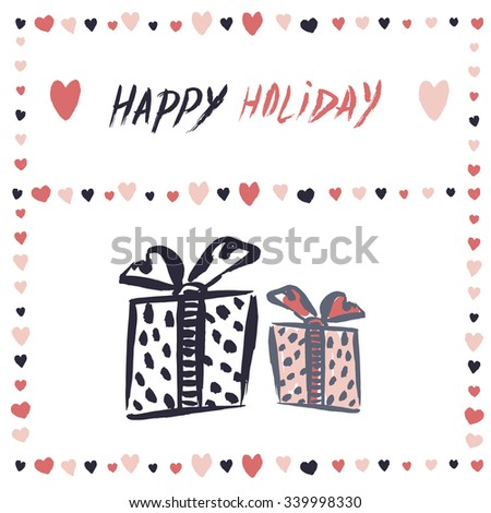 Gift boxes Vector banner. Simple freehand drawing greeting, invitation card Valentines Day, Christmas, birthday - stock vector