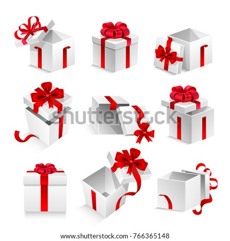 Gift boxes with ribbon bow vector 3d icons set