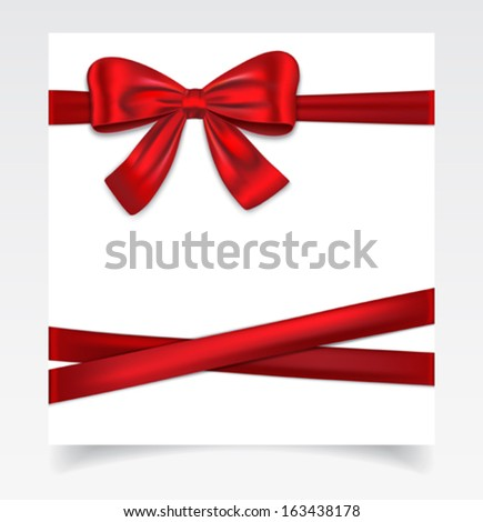 Gift cad tied with red ribbon and and nice bow. Vector illustration