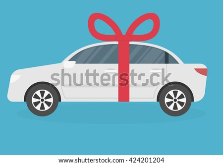 Gift car icon with red ribbon and bow. Flat style - stock vector