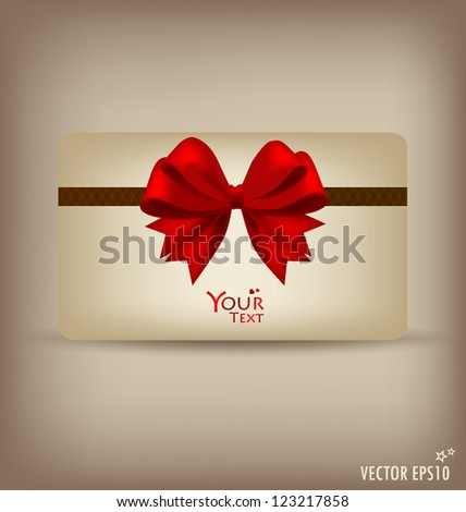 Gift card and invitation with ribbon. Vector illustration. - stock vector