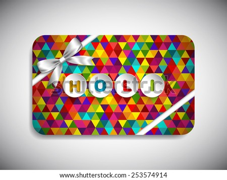 Gift card of Holi Festival with colorful intricate design.