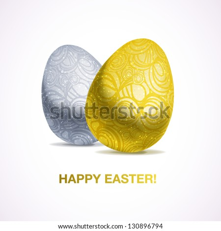 Abstract gold easter egg gift card stock vector 135112751 gift card of two metallic easter eggs with pattern eps10 negle Choice Image