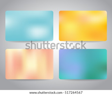 Gift card or discount card set with colorful backgrounds template. Blue, yellow, pink color. Vector design EPS10