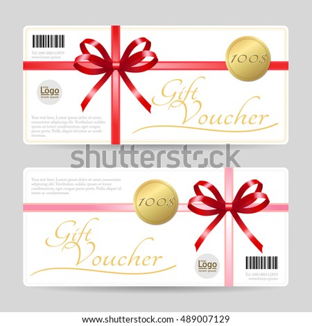 Gift Card Gift Voucher Template Shiny Stock Vector