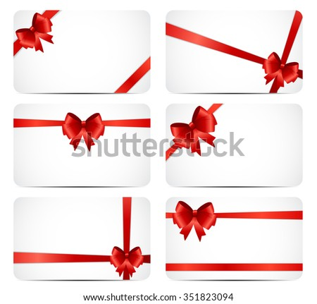 Gift Card Set with Red Ribbon and Bow. Vector illustration EPS10 - stock vector