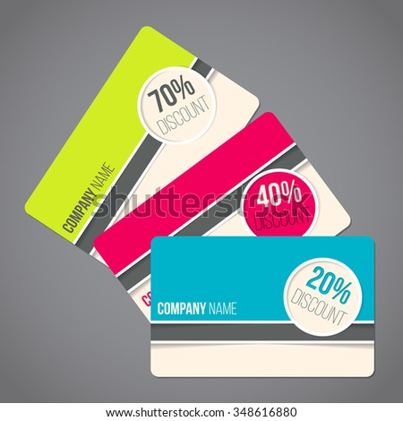 Gift card set with various colors and discounts - stock vector