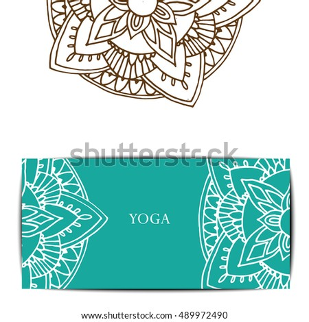 yoga gift certificate template free - unusual pattern yoga studio classvector editable stock