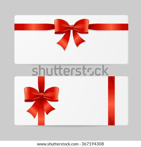 Gift Card Template with Red Ribbon. Vector illustration - stock vector
