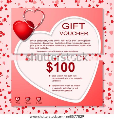 Gift Card Vouchercertificate Template Heart Pattern Design Gift - 100 gift certificate template