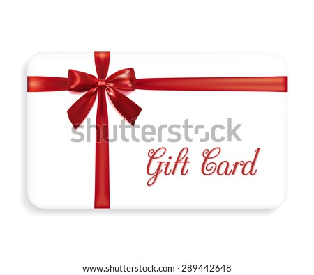 Gift card with a red bow and ribbons. Design element. Vector illustration - stock vector