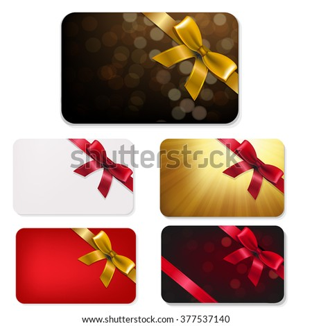Gift Card With Bows Big Set With Gradient Mesh, Vector Illustration - stock vector