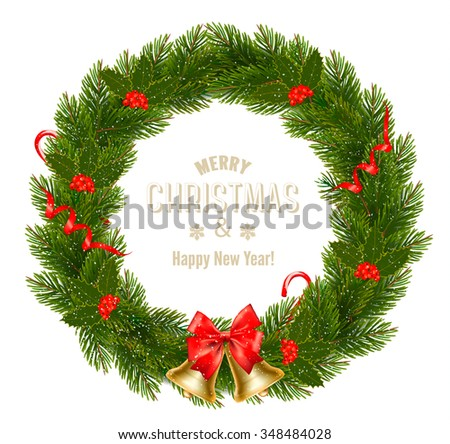 Gift card with Christmas Wreath and Bow. Vector illustration. - stock vector