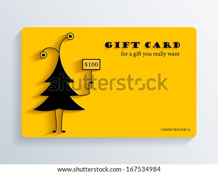 Gift Card with funny Christmas Tree - stock vector