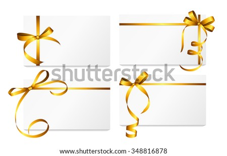 Gift Card with Gold Ribbon and Bow Set. Vector illustration EPS10 - stock vector